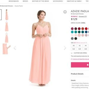AZAZIE BRIDESMAID CORAL DRESS SIZE 6 (PAOLA)